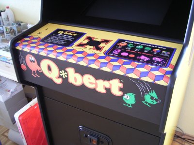 Q*bert control panel overlay made from vinyl